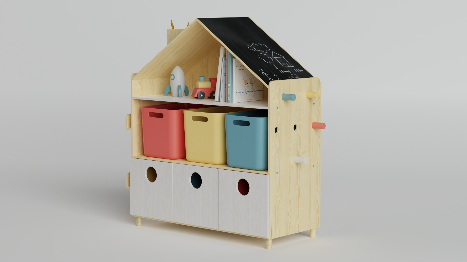 TOY ORGANIZER Educative furniture for kids by ALOS. Product Design Studio.